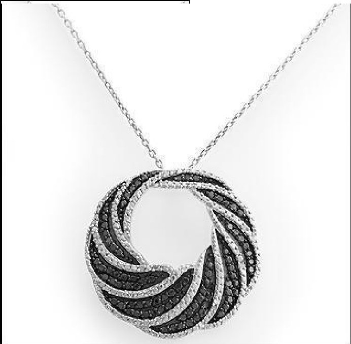 Diamond necklace Lovely Black & White Swirled Pendant