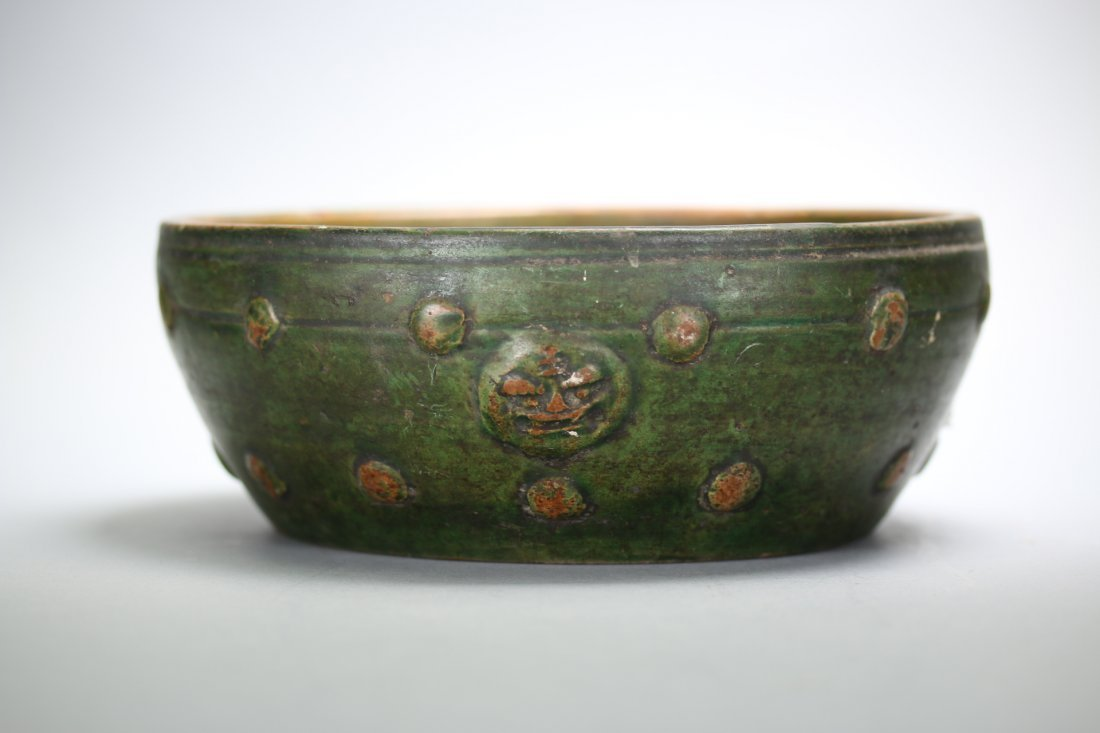 A Chinese green glazed pottery bowl,Han Dynasty