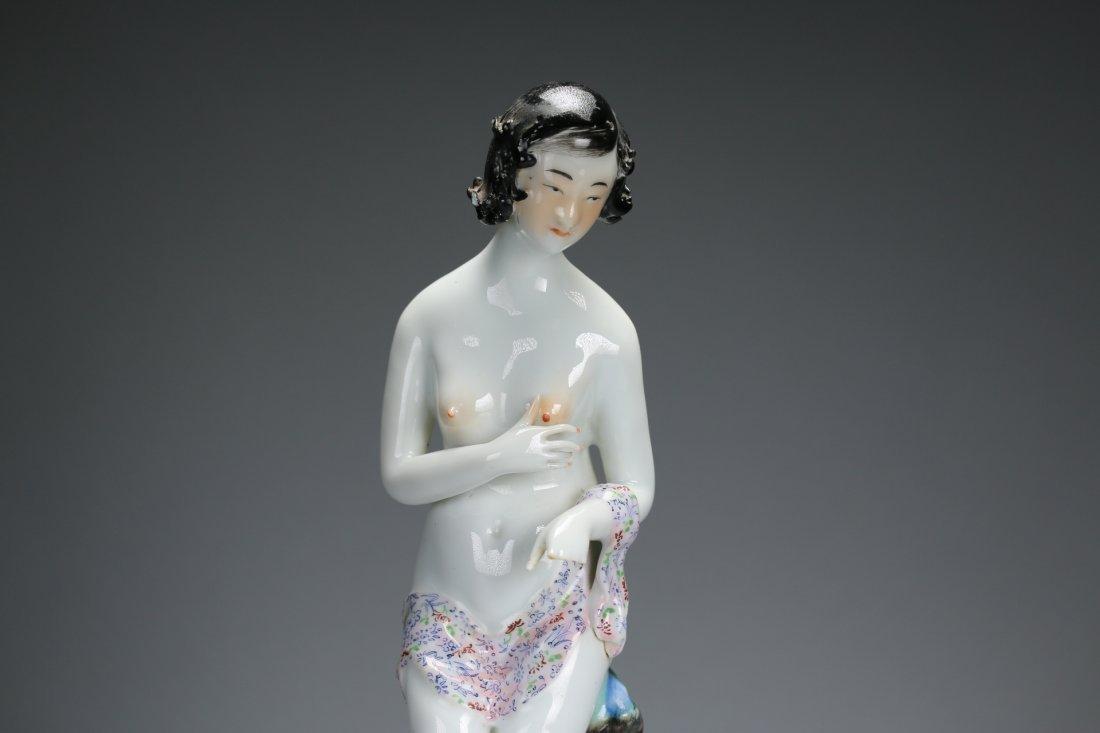 A polychrome enameled figure of a lady - 3