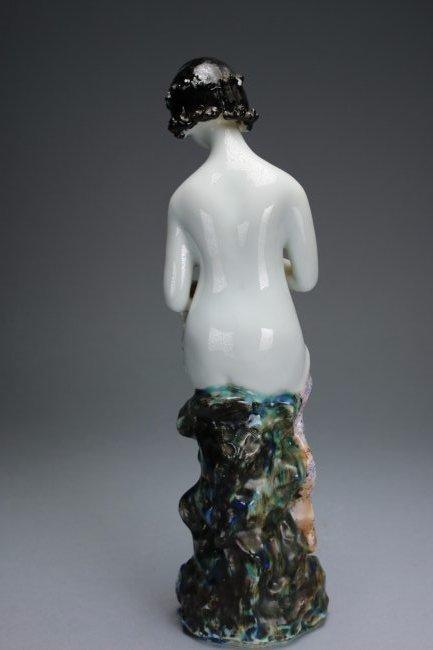 A polychrome enameled figure of a lady - 4