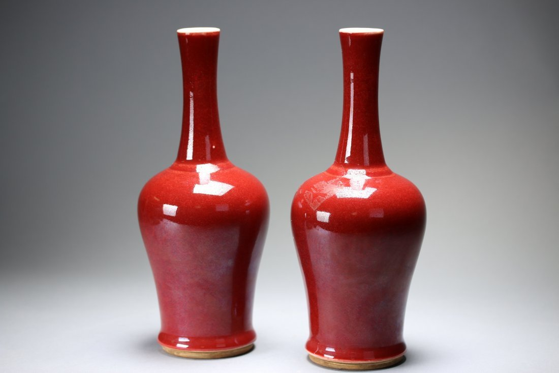 A pair of Chinese oxblood glazed porcelain bottle