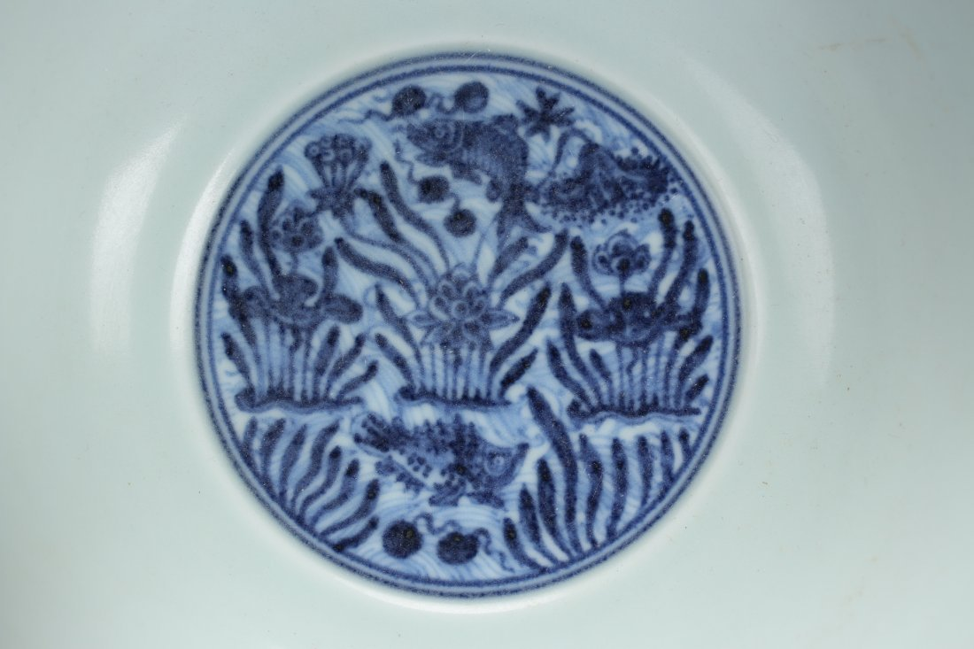 Ming Dy WanLi Mark, A Large Blue and White Bowl. - 5