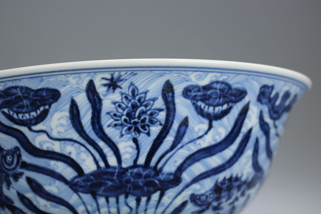 Ming Dy WanLi Mark, A Large Blue and White Bowl. - 9