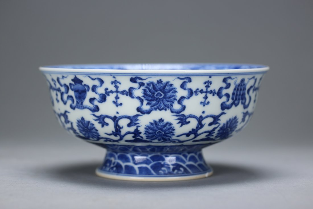 Qian Long Mark, A Blue and White Stem Cup - 3