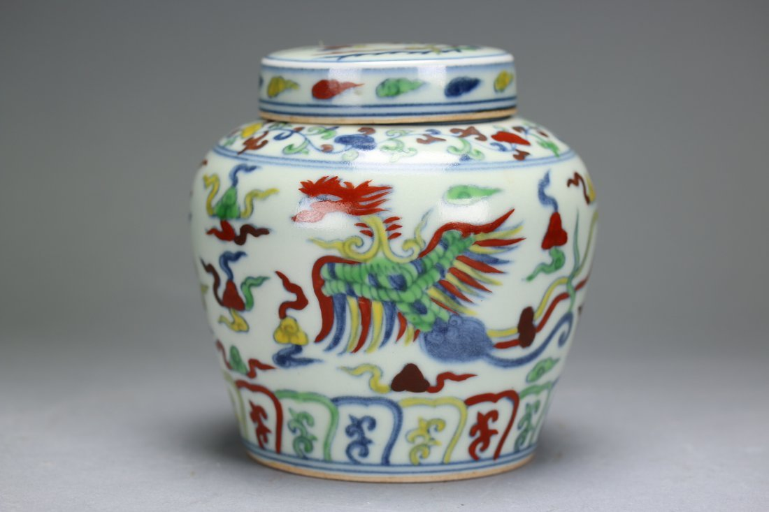 A Rare and Unusual Doucai Phoenix Lidded Jar