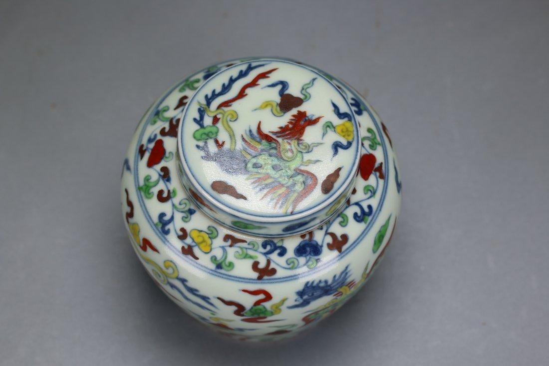 A Rare and Unusual Doucai Phoenix Lidded Jar - 4