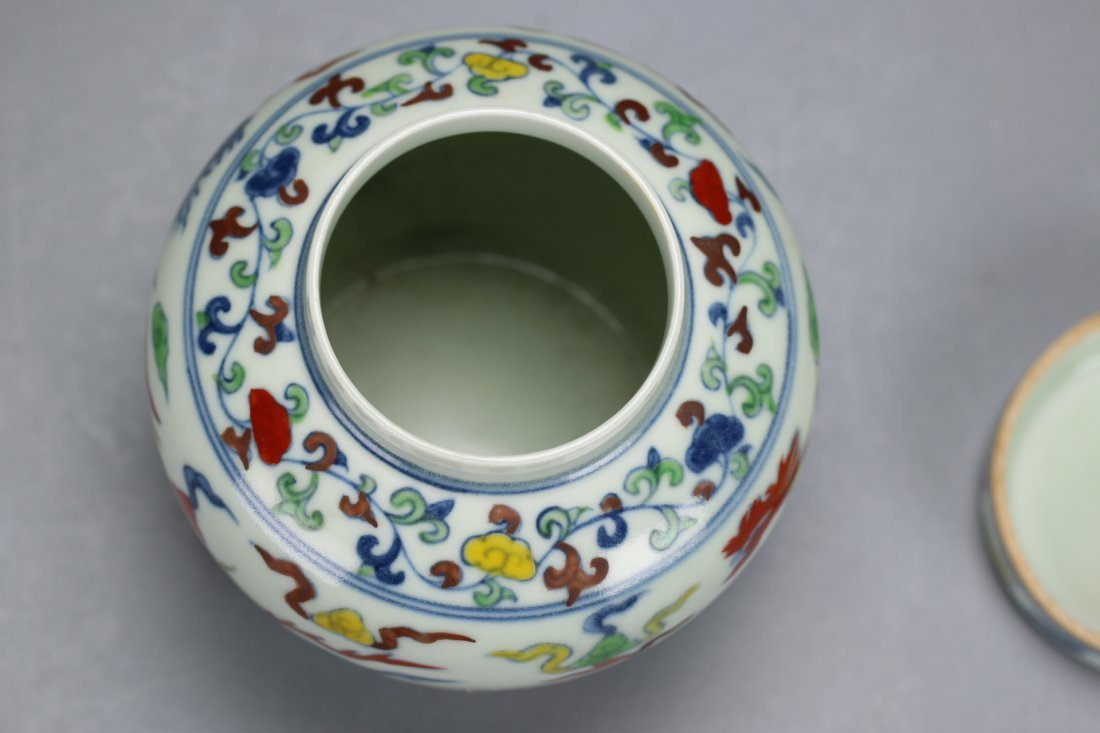 A Rare and Unusual Doucai Phoenix Lidded Jar - 6
