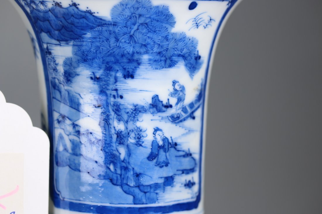 Chinese blue and white glazed gu-form vase,Qing dynasty - 2