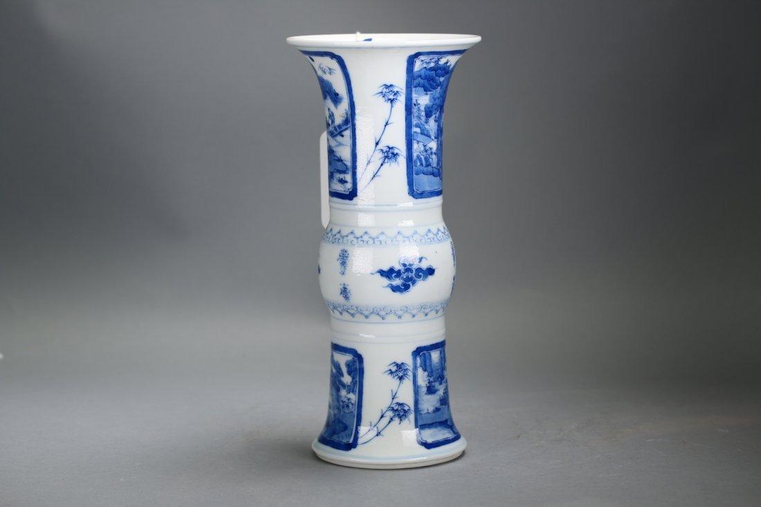 Chinese blue and white glazed gu-form vase,Qing dynasty - 5