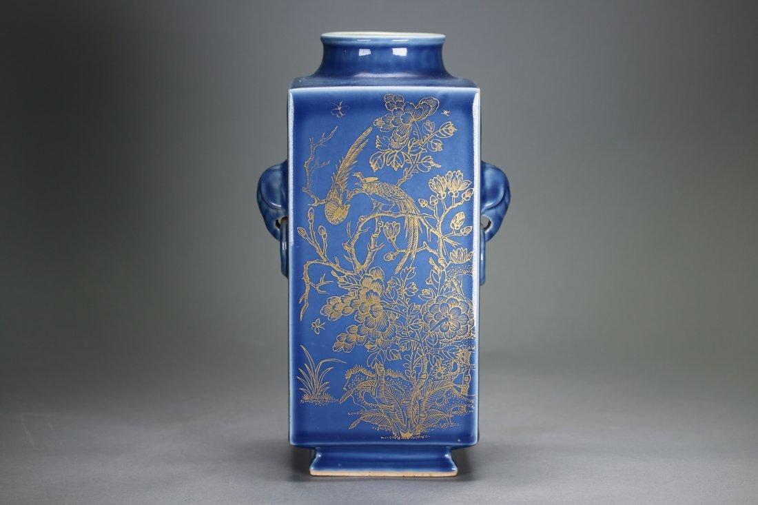 """A Blue-Glazed Gilt Rectangular """"Cong""""Vase,Qianlong"""