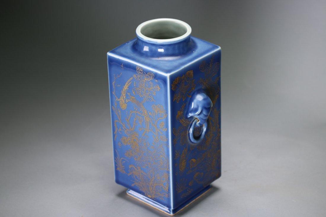 """A Blue-Glazed Gilt Rectangular """"Cong""""Vase,Qianlong - 2"""