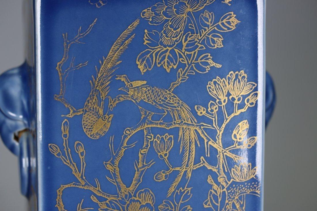 """A Blue-Glazed Gilt Rectangular """"Cong""""Vase,Qianlong - 3"""
