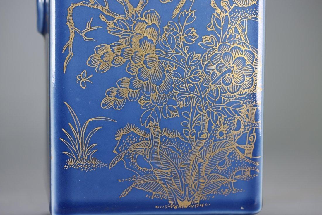 """A Blue-Glazed Gilt Rectangular """"Cong""""Vase,Qianlong - 4"""