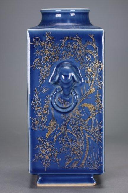"""A Blue-Glazed Gilt Rectangular """"Cong""""Vase,Qianlong - 5"""