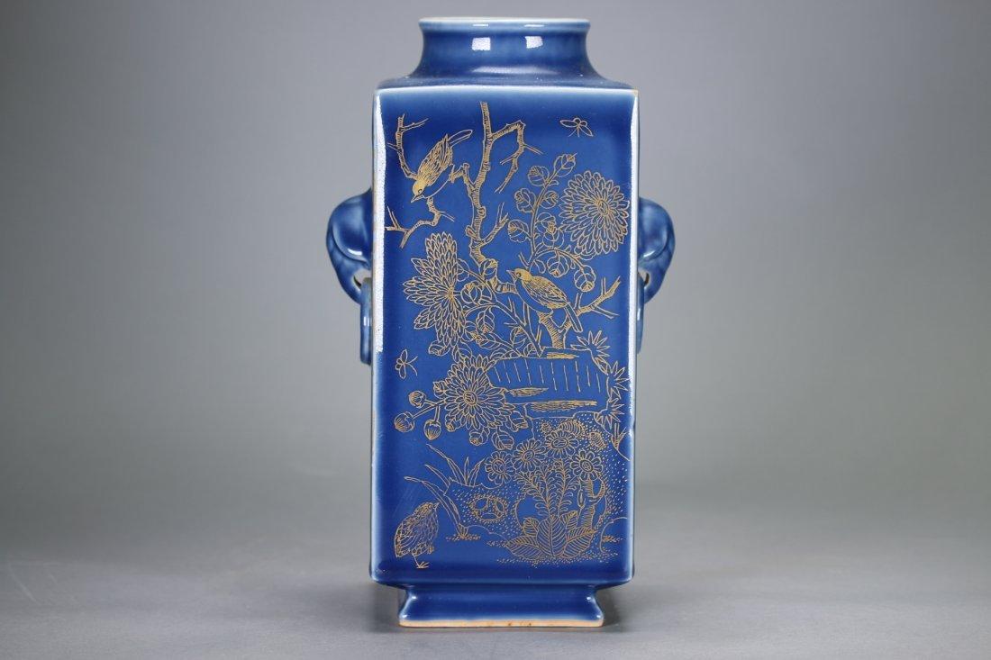 """A Blue-Glazed Gilt Rectangular """"Cong""""Vase,Qianlong - 7"""