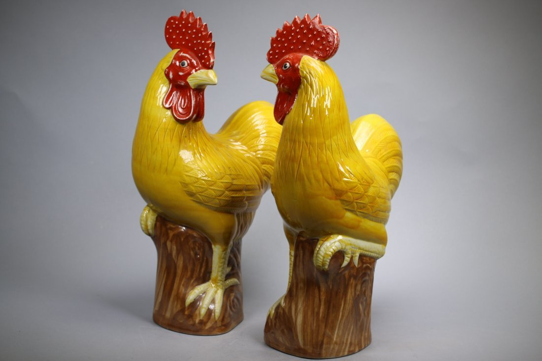 A Pair Glazed Porcelain Roosters, Repubic China