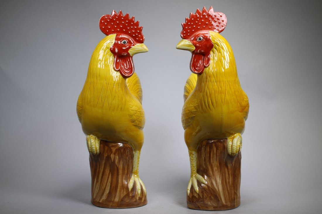 A Pair Glazed Porcelain Roosters, Repubic China - 2