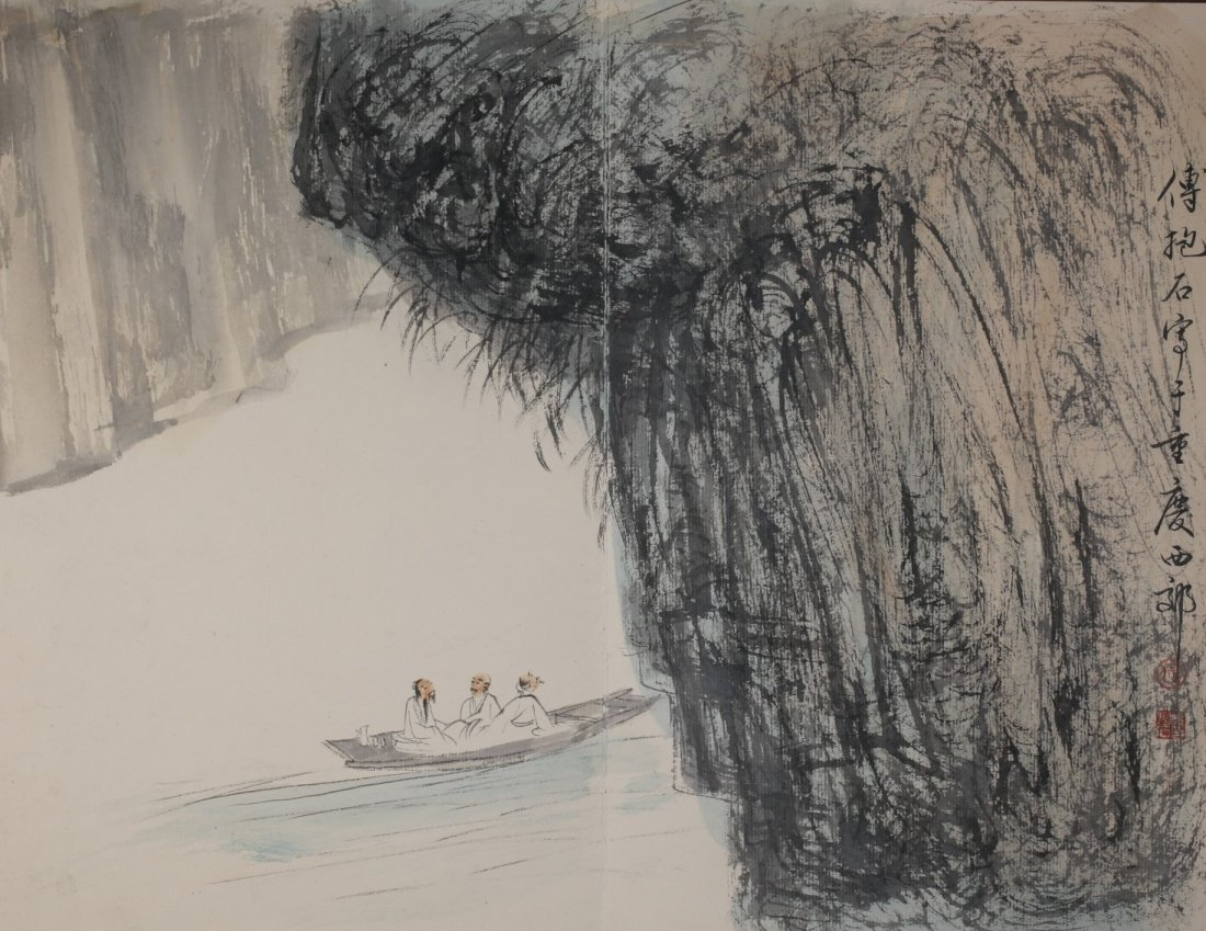 Signed Fu Baoshi, A Ink and Water Colors Album - 6