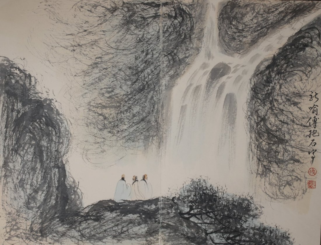Signed Fu Baoshi, A Ink and Water Colors Album - 7