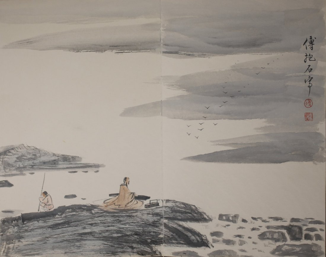 Signed Fu Baoshi, A Ink and Water Colors Album - 8