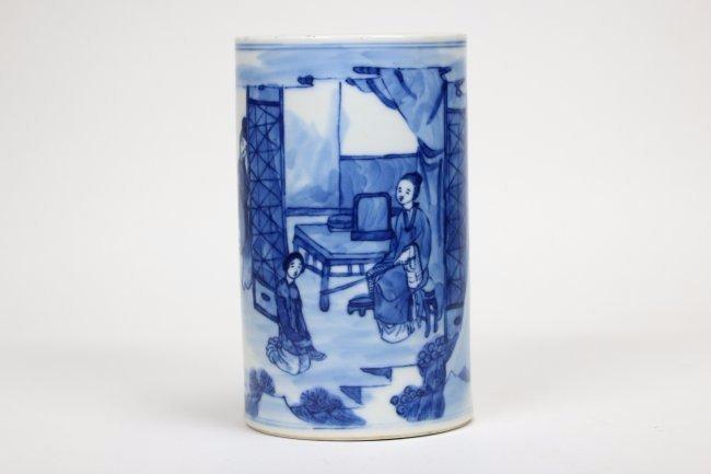 A Blue and White Porcelain brushpot,Kangxi