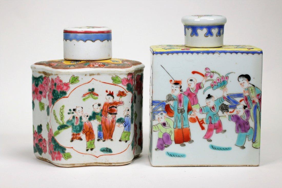 Two Famille Verte Porcelain Tea Box