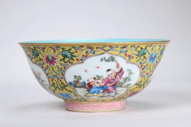 """A   Yellow-Ground Famille Rose Enamelled""""Boy play"""" Bowl"""