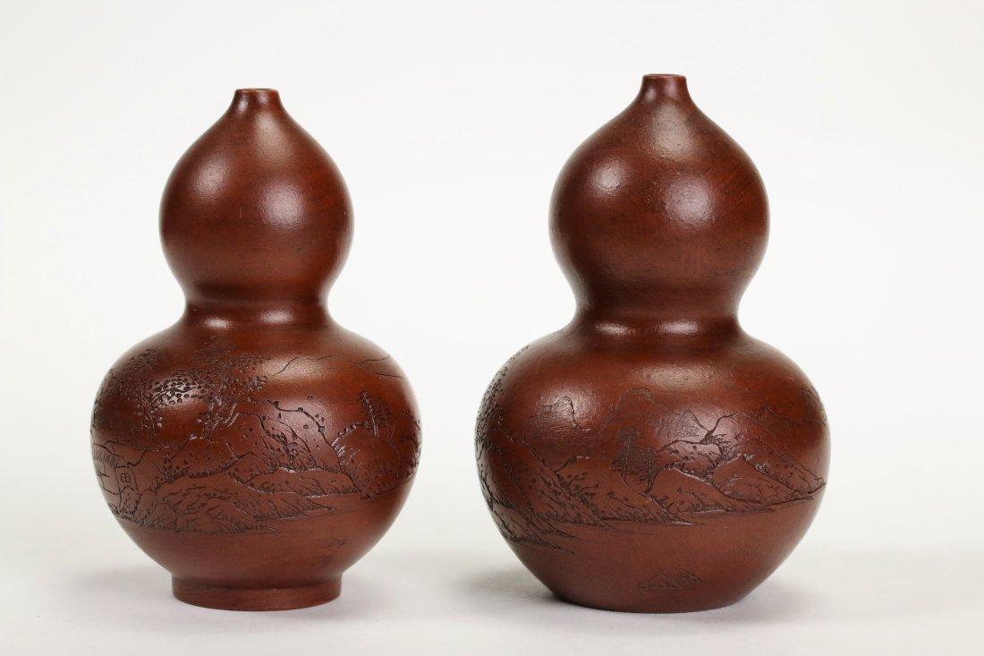 2 Yixing gourd shape vases