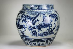 A large Chinese Yuan element blu and white vase