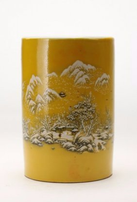 A Chinese Yellow-grond Porcelain Brushpot