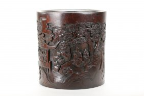 A Chinese fine carved hardwood brushpot
