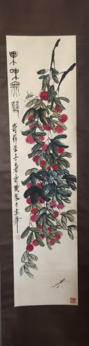 A CHINESE SCROLL PAINTING, By Qi Baishi