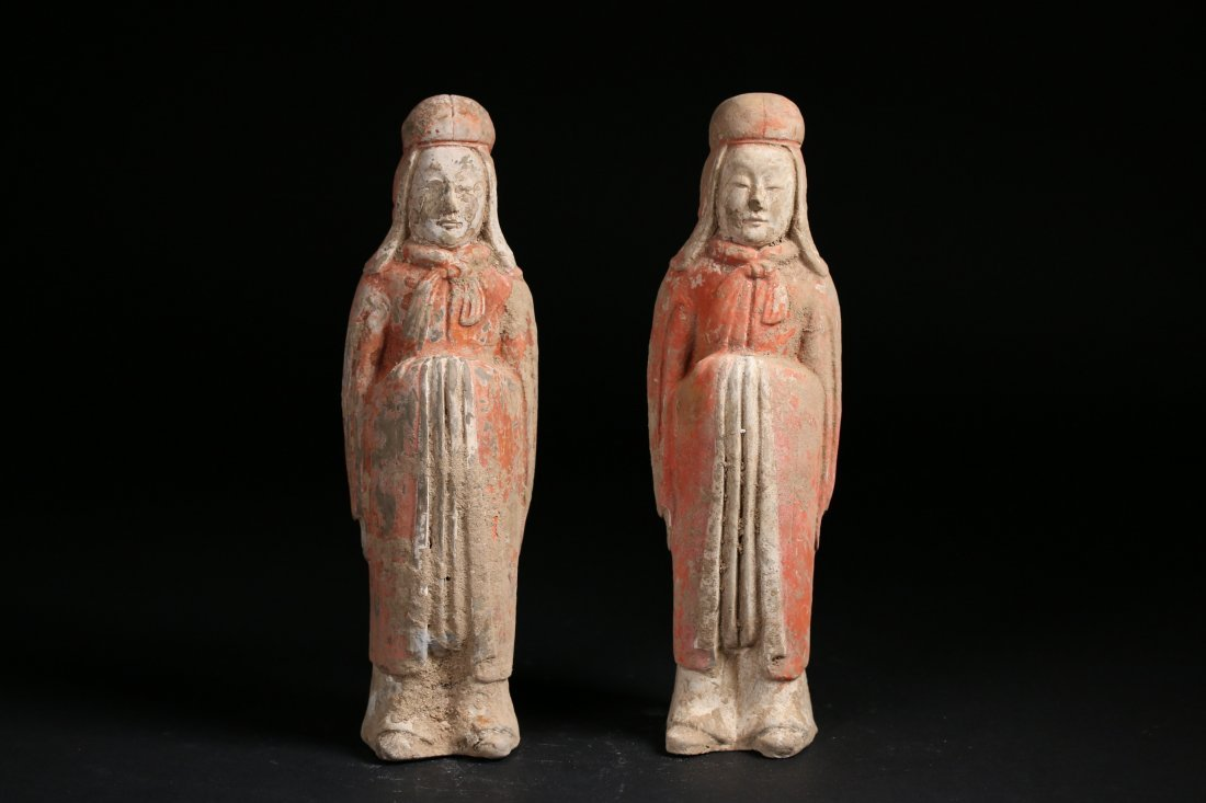 Two Chinese Pottery Figures,Sui dynasty(589-618)