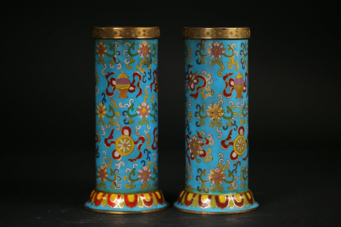 Two Chinese  Cloisonne VasesQian Long Marks