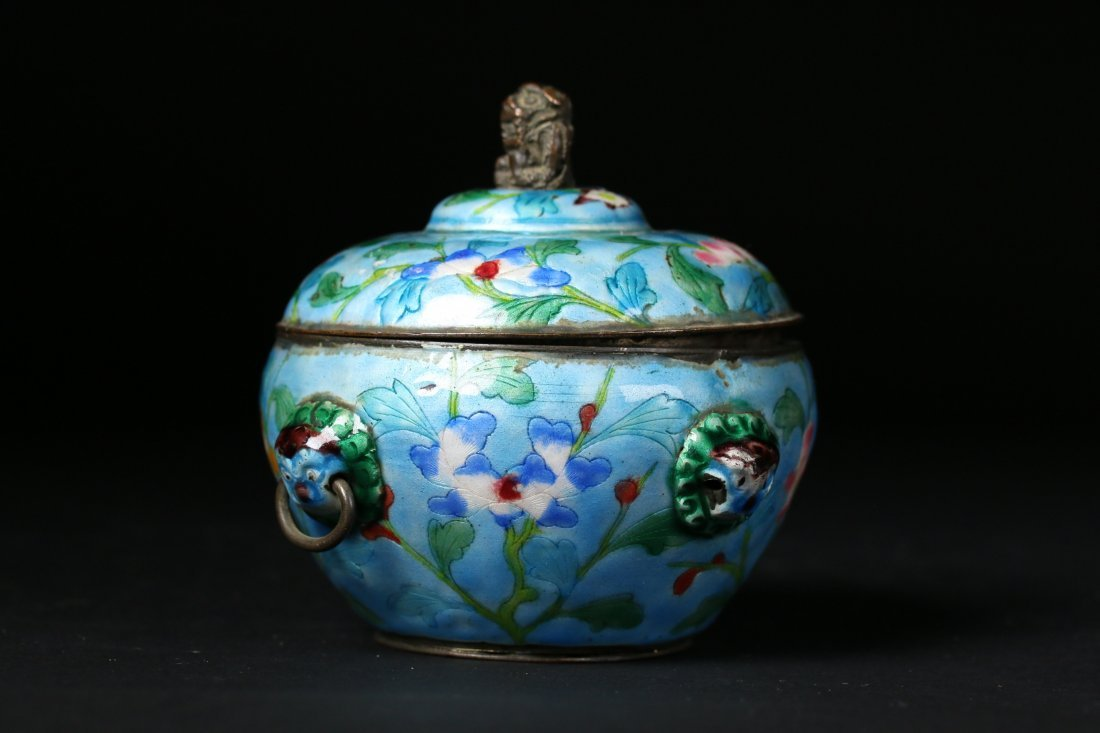 A Chinese Cloisonne Silver Pot,Qing dynasty