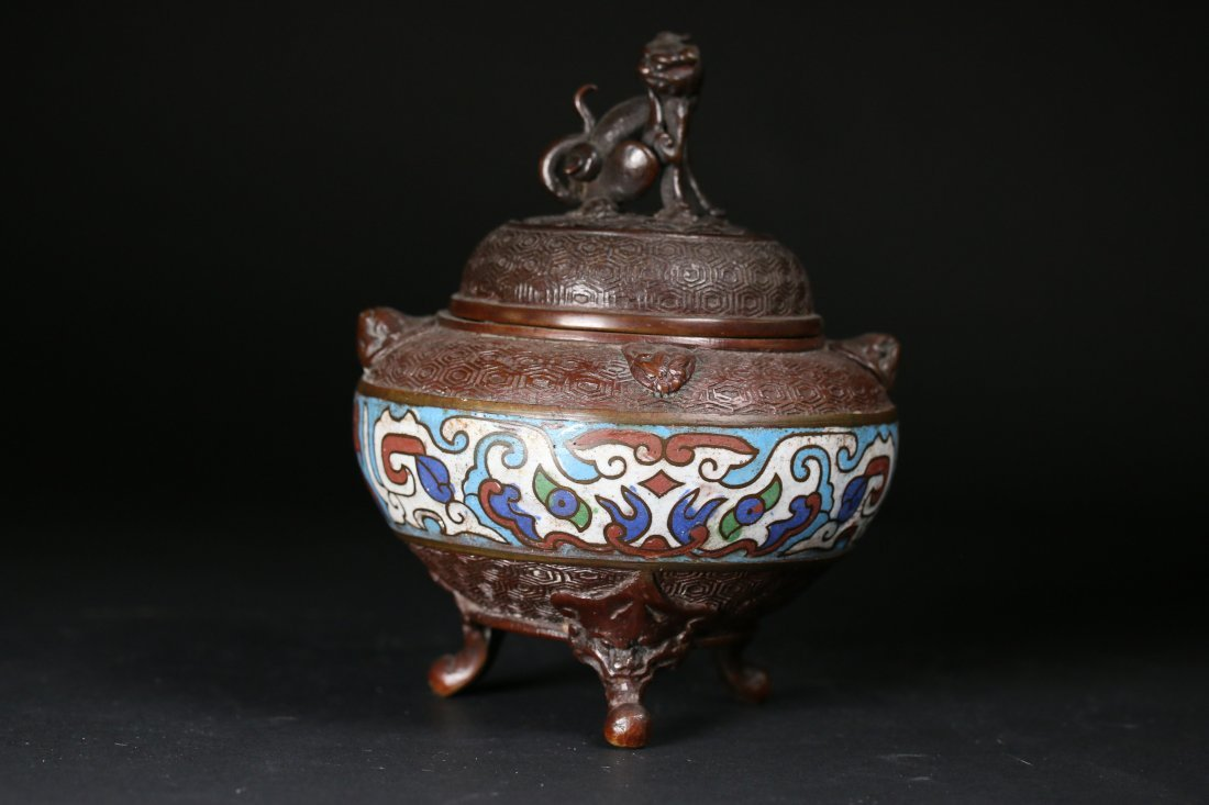 A Chinese Champleve Small Enamelled Bronze Censer