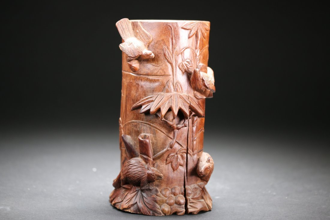 Chinese Carved Huali Wood Pen Holder