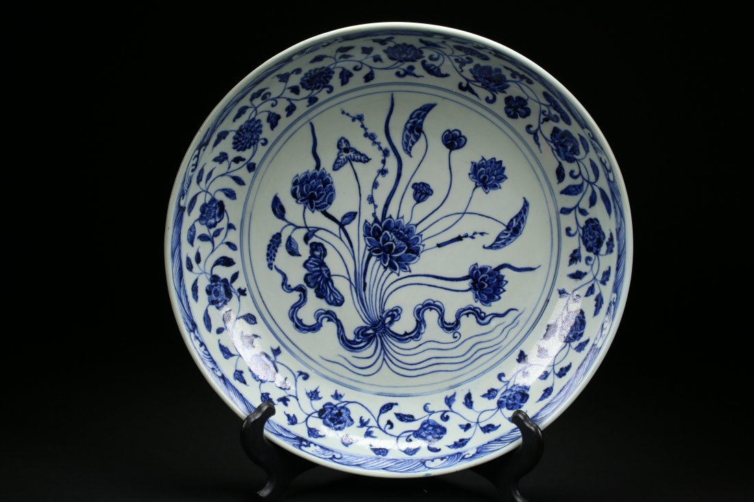 Christie's Sale YONGLE Blue And White Charger,Ming