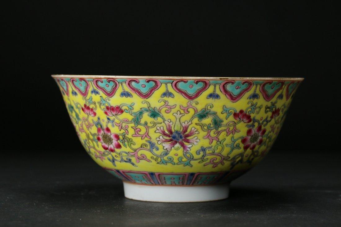 A Yellow-Ground Yangcai Porcelain Bowl