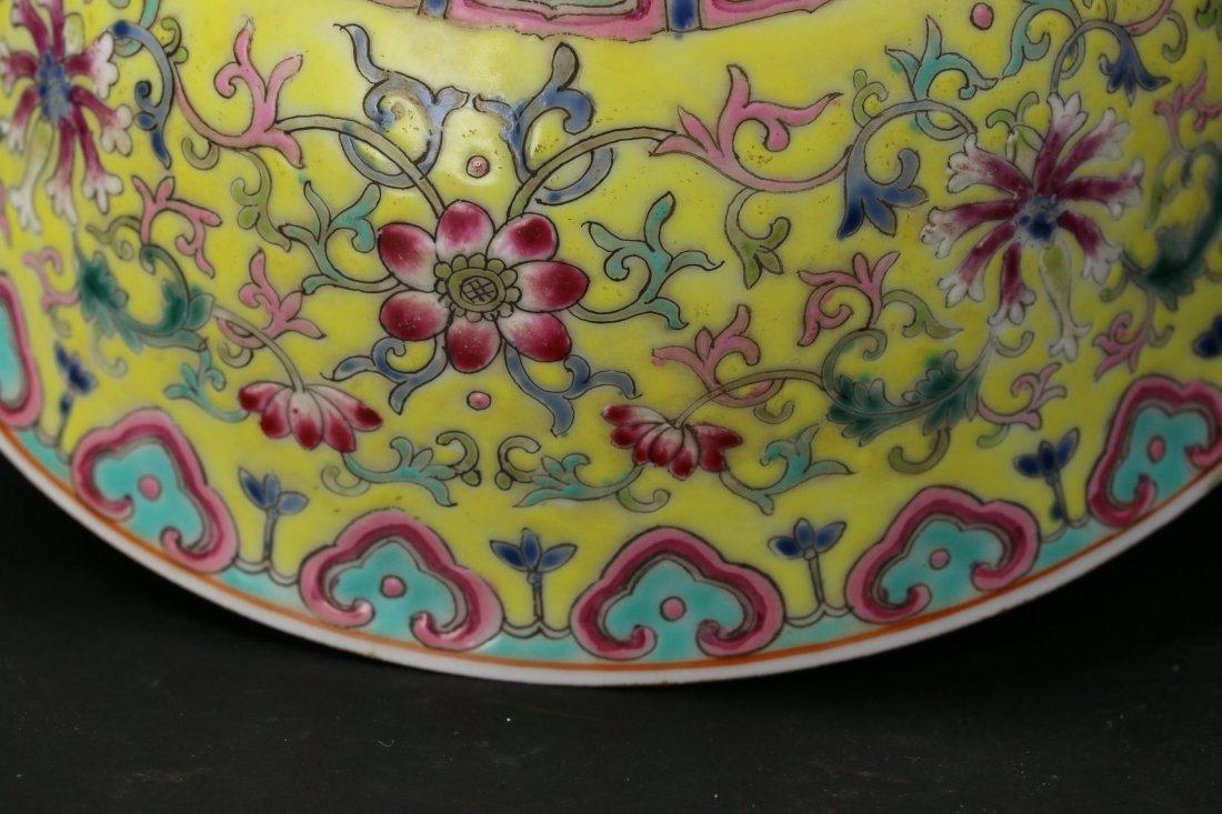 A Yellow-Ground Yangcai Porcelain Bowl - 2