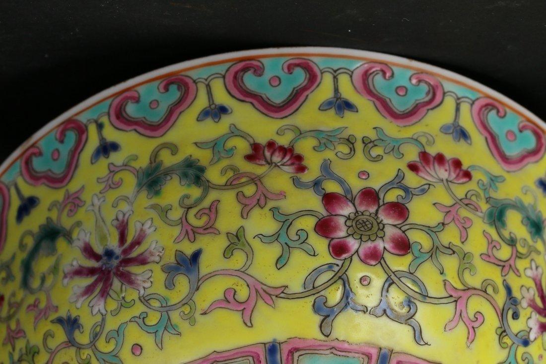 A Yellow-Ground Yangcai Porcelain Bowl - 3