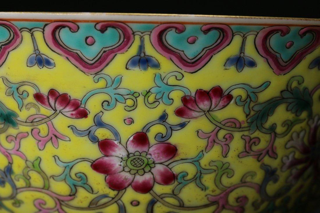 A Yellow-Ground Yangcai Porcelain Bowl - 5