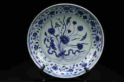 Christie's Sale YONGLE Blue And White Charger,Ming Dyna
