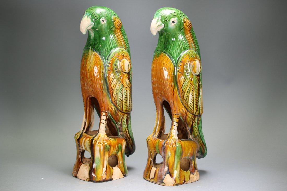 Pair Chinese sancai parrots,18th century