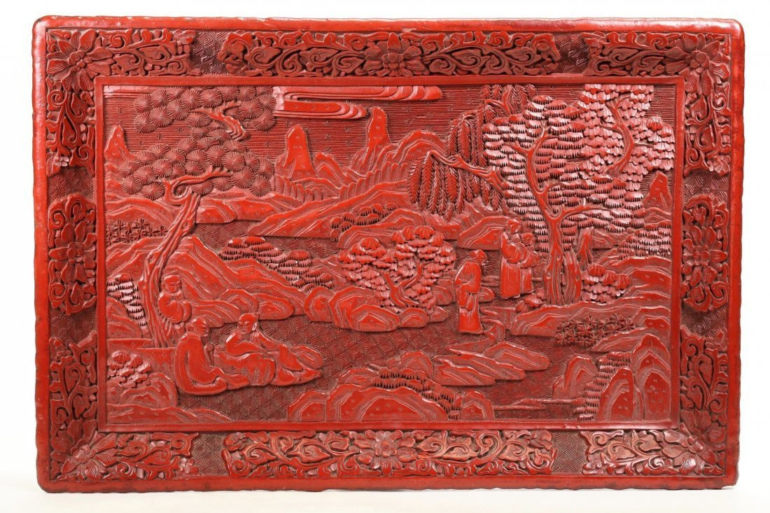 A LARGE CINNABAR LACQUER TRAY,19TH CENTURY
