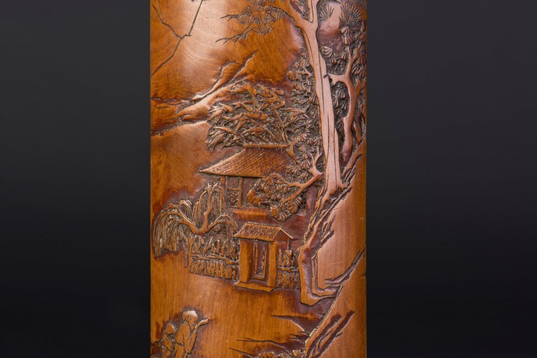 A bamboo-carved armrest incised with landscape motif ca - 2