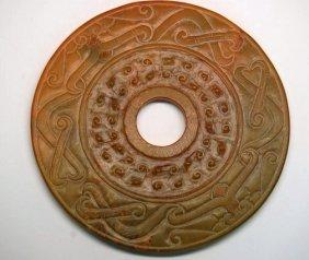 A Chinese Carved Jade Bi