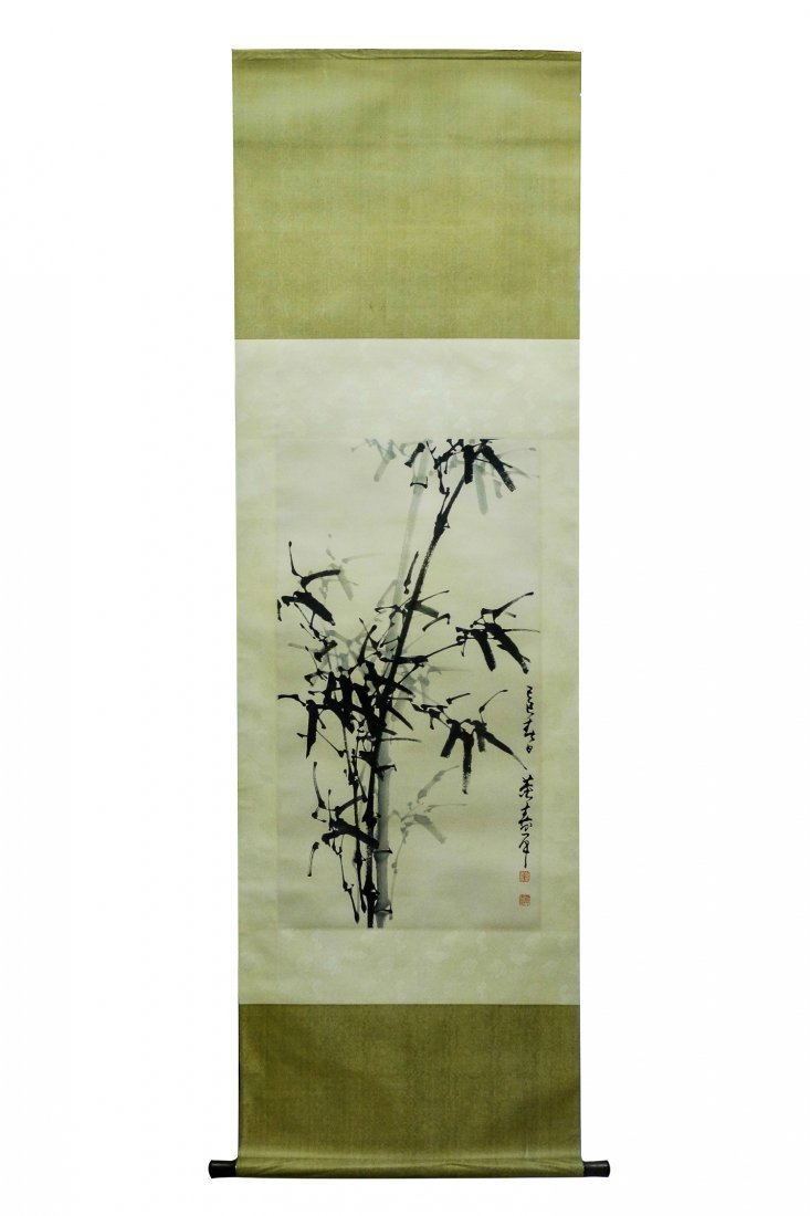 A CHINESE SCROLL PAINTING (bamboo) By DONG SHOUPING