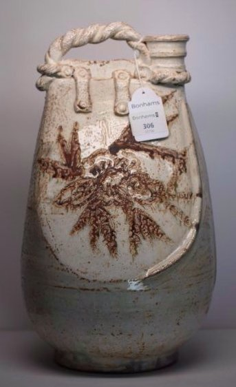 A rare buff-glazed pottery flask,Liao dynasty