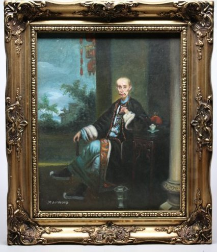 Signed Manwood, Oil Painting,Qing dynaty